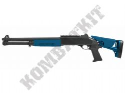 M56DL BB Gun Franchi Style Spring Tri Shot Pump Action Airsoft Shotgun 2 Tone Blue Black